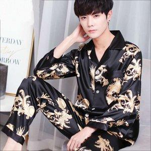 2WBu0 Nueva pijamas ropa de casa de hielo de los hombres pantalones de aire acondicionado de seda pantalones de manga larga ropa de hogar tamaño ampliado informal de air