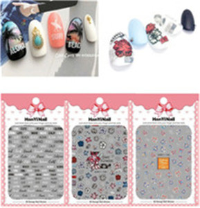 New arriving 3D Japan Korea glass mirror foil nail sticker for girl nail art Flowers 3D Nail Decal Sticker