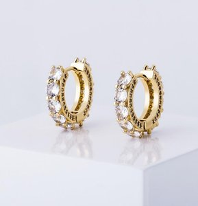 New pattern Round Stud Earring Micro Pave Full CZ Gold Silver Rose Gold Color Iced Out Earring c Gift For Women