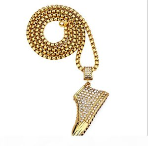 R Jewelry Statement Necklace Men &#039 ;S 18k Real Gold Plated Shoe Pendant Necklace Iecd Out Chain 30 &Quot ;Long Chain Hip Hop Bling