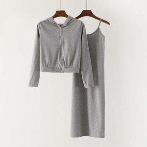 das mulheres Set Outono de Moda de Nova Two Pieces Define Ternos Sexy Spaghetti Strap Vestido Midi Vestido manga comprida com capuz casacos Senhoras