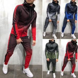 Set homens roupa agasalho com capuz Top Bottoms Plain Zip Suits bolso Slim Fit forma masculino Esporte