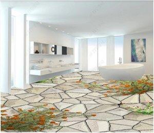 3d pvc flooring custom photo Stone Road Rose Bathroom Floor 3D tile floor 3d Wall-paper home decor wall art stickers
