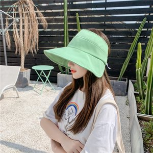 A2ih2 Temperament casual foldable empty Temperament matching fashio casual Korean style matching fashion solid color sun-proof sun hat summe