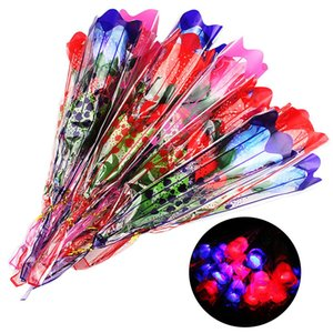 1Pc Glow in Dark LED Light Artificial Rose Flower Girl Romantic Gift Holiday Toy Artificial Dried Flowers