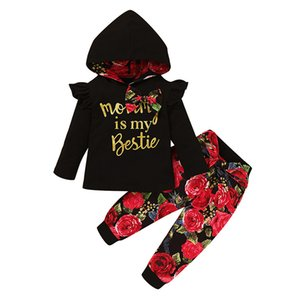 2020 Autumn Baby Girls Floral Clothing Sets Long Sleeve Hooded bow Letter Print Sweatshirt Top + Pants 2pcs set Kids Clothes M2269