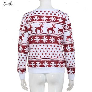 Christmas Ugly Sweater Female Long Sleeve Pullover Sweater Reindeer New Year Christmas Sweater Women Drop Shipping