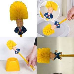 Funny Toilet Supplies Bathroom Cleaning Tools WC Borstel Donald Trump Toilet Brush Base Home Hotel Bathroom Cleaning Accessories R1601