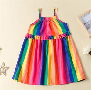 Capretti del bambino vestono Vestiti estivi neonate Designer arcobaleno a righe Abito senza maniche Bretelle Gonna bambini principessa Gonne LY716