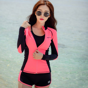 Sexy Lady Swimsuit Swimwear Tre pezzi con BraBottom stile coreano lungo maniche Zipper protezione solare Beach vestiti costume da bagno