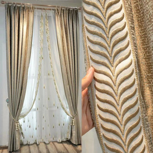 sy cortinas New Light Luxo Grain Jacquard Shading Artificial Silk Curtain produto acabado personalizado Shading Física