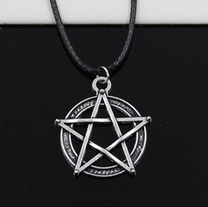 20pcs lot Tibetan Silver Star Pentagram Necklace Choker Charm Black Leather Cord Necklace DIY