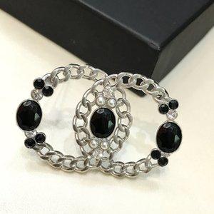 C2365 Fashion new chain pearl diamond brooches women high-grade design C letter exquisite wild pin buckle