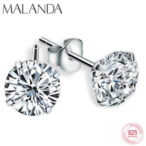 Malanda Fashion Véritable 925 boucles d'oreilles en argent sterling Stud cristal blanc Boucles d'oreilles Zircon canal pour les femmes Bijoux de cadeau de mariage