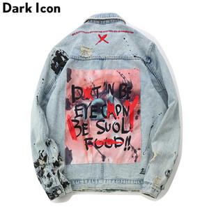 OSCURAS ICON Graffiti Apliques de Hip Hop de los pantalones vaqueros de los hombres de la chaqueta 2019 Otoño lavado denim material chaquetas para los hombres casual chaquetas CX200801