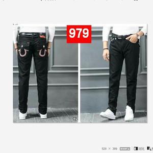 Herren-Jeans mit geradem Schnitt Lange Hose Hosen der Männer Wahre Coarse Linie Religion Jeans Kleidung Mann beiläufige Bleistift-Hosen-Blau Schwarz-Denim-Hosen 8189