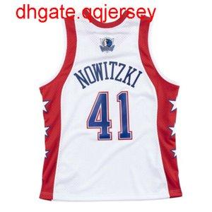 Cheap Dirk Nowitzki # 41 Mitchell maglie da basket Ness 2004 All-Star Jersey Throwbacks Vest cucita