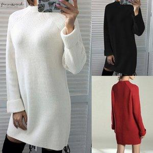 Winter Dresses Women 2020 Fashion Clothing Casual Long Sleeve Knitted Sweater Dress Femme O Neck Mini Short Street White Dress