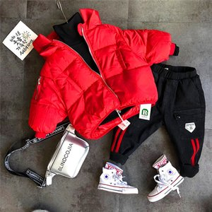 3PCS WLG boys winter clothing set kids super thick parkas solid t shirt and pant set baby boy winter outfit