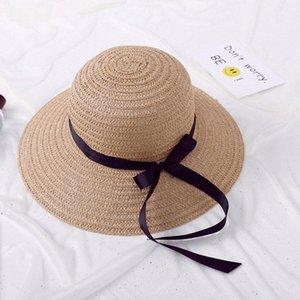 Al por mayor de moda de la mujer nueva calidad sombrero de paja sombrero para el sol Tide red de protección solar Beach arco Lady Popular viaje de paja sombreros Kangol Kentu NDsW #
