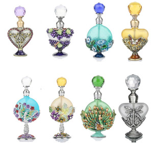 H&D Vintage Empty Refillable Bottle Graven Metal Crafts Antiqued Glass Perfume Essential Oil Container Gift Home Wedding Decor