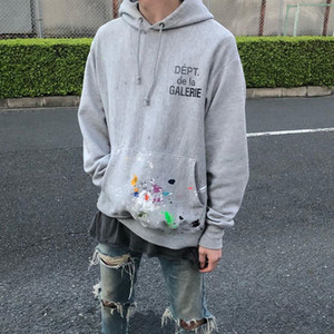 Mode Handbemalte Graffiti Splash Ink Brief gedruckt Hoodie Paar Damen Herren Sweatshirt High Street Hoodie Sweater HFXHWY139