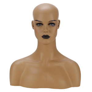 UPS Fedex Two Different Skin Female Fiberglass Mannequin Head With Shoulders For Wig Jewelry And Hat Display