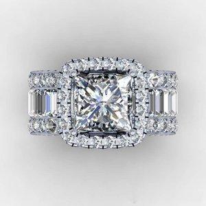 Size 5-10 Wholesale Hot Sale Vintage Jewelry Real 925 Sterling Silver Princess Cut White Topaz CZ Diamond Gemstones Women Wedding Band Ring