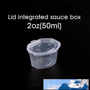 50ml / 2oz kapak Sos Chutney temizle kutusunu Take-out kutusu Gıda Paket servis Salata Mini Saklama kutusu 100pcs ile tek kullanımlık plastik bardaklar Baharat