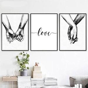 Se tenir en noir et blanc Mains Love Letters Toile Peinture murale Art pour Salon Home Decor No Frame
