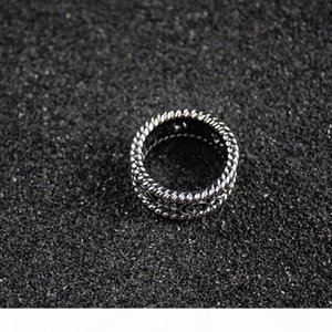 Interlocking Ring Men Wide Hollow Letter Rings Women Ancient Silver Jewelry