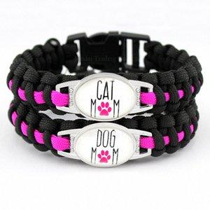 Individuelle Dog Mom Cat Mom Schwarz-Rosa-Hundeliebhaber-Katzen-Liebhaber-Liebe-Liebe Paracord Überleben Freundschaft Armband der Frauen l3nv #