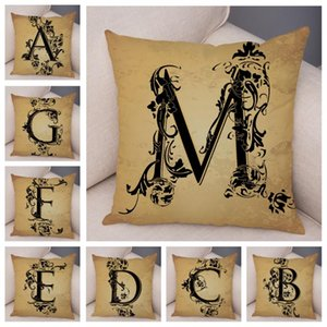 Retro Pattern Alphabet Cushion Cover for Home Car Sofa Short Plush Pillowcase Deocr Vintage Geometric Letter Printed Pillow Case