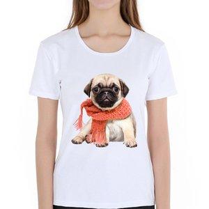 2019 Women New Printing Scarf Pug Dog Design 100% Cotton T Shirt Lady Fantastic Bulldog Funny Short Sleeve Tee For Girls
