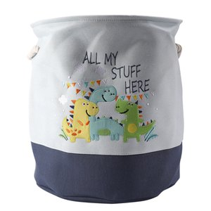 Foldable Storage Basket Cartoon Dinosaur Kids Toys Canvas Storage Basket Dirty Clothes Laundry Container Barrel Home Organizer