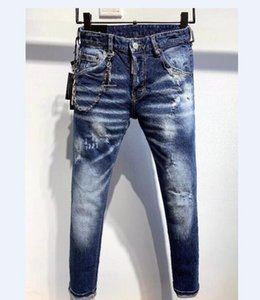New Style Mens Holes Jeans Embroidery Motorcycle Biker Slim Denim Pants Trousers Casual Men Blue Jeans Size 28-38 4013