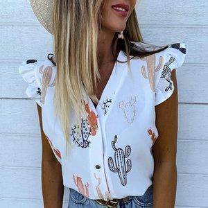 Fanbety Mulheres de férias elegante Lazer blusa Top Feminino Meninas V pescoço camisa doce de abacaxi Imprimir Flutter Sleeve Blusa