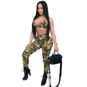 Women's sexy Dresses European and American women's fashion sports print camouflage two-piece pants Outfits fashion and Sexy