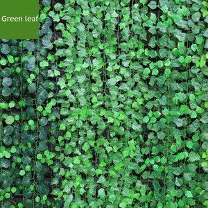 12pcs  Lot 200cm Artificial Ratten Bar Restaurant Decoration Artificial Plants Climbing Vines Green Leaf Ivy Home Decor Plants
