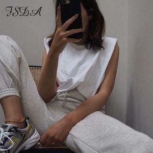 FSDA 여름 느슨한 여성 2020 화이트 T 셔츠 캐주얼 오프 숄더 블랙 패션 민소매 여성 O 목 목화는 기본 MX200721를 탑