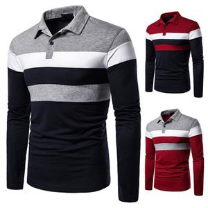 Polos Fahsion Striped Panelled Contrast Color Polos Casual Long Sleeve Lapel Neck Mens Polos Mens Slim
