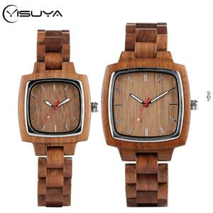 YISUYA 호두 연인 커플 남성 시계 여성 우디 밴드 Reloj 험 브레 2020 시계 남성 시간 최고 기념품 선물 CX200720을위한 나무 시계