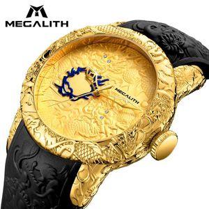 Megalith Moda Men Watch Top Gold Dragon Sculpture Assista Men Quartz Waterproof Big Dial Sports Relógios Homem