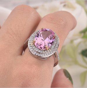 새로운 거위 달걀 모양의 마이크로 설정 핑크 다이아몬드 925 스털링 실버 반지 우아한 다이아몬드 반지 결혼 여성 크리스마스 선물