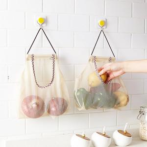 Duraderos resistentes al desgaste de que ahorran espacio colgar bolsas reutilizables bolsa de malla fruta de la cocina vegetal de almacenamiento de malla grande Capacidad bolsa bolsas DH0367