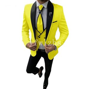 New Style One Button Handsome Shawl Lapel Groom Tuxedos Men Suits Wedding Prom Dinner Best Man Blazer(Jacket+Pants+Tie+Vest) W228