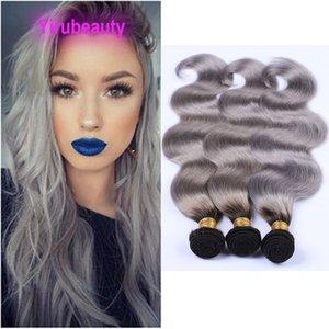 # 1B Grey Ombre onda del cuerpo 4 Bundles brasileña virginal del pelo teje tramas dobles 95-100g / piece 1b / gris Dos Tonos de colores