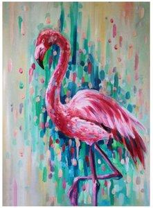 Краска с бриллиантами наборами малярных Kit Алмазных для взрослых Алмазного искусства, Полный Drill (Flamingo)