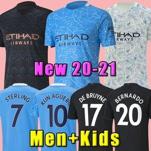 NEW 20 21 STERLING De Bruyne KUN AGUERO FC de futebol Manchester City camisa 2020 2021 SANE camisa JESUS futebol homens + crianças kit conjuntos de casa uniforme