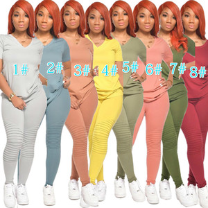 Frauen Shorts 2-teiliges Set Anzug Designer Jogging Sportsuit T-Shirt lange Hosen Outfits Plus Size Damen Casual Wear Hot Selling 2020